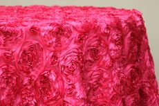 Rent pink rosette taffeta round tablecloth