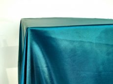 Rent teal blue color satin rectangular tablecloth