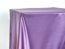 Rent purple color satin rectangular tabelcloth