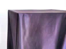 Rent eggplant color satin rectangular tablecloth