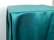 Rent emerald green color satin rectangular tablecloth