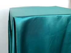 Rent emerald green color satin rectangular tablecloth