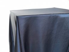 Rent navy blue color satin rectangular tablecloth