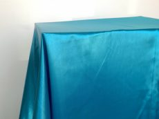 Rent turquoise blue color satin rectangular tablecloth