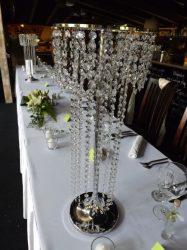 Asztali csillár kölcsönzés kristály girlandokkal 67cm