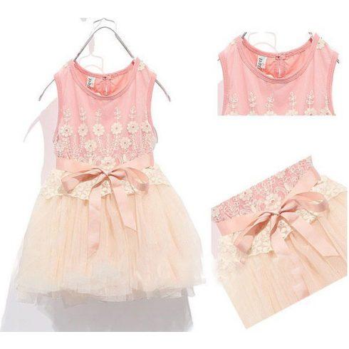 Barack rózsaszín csipke alkalmi kislány ruha