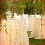 Petal taffeta tablecloth rental with 3d effect
