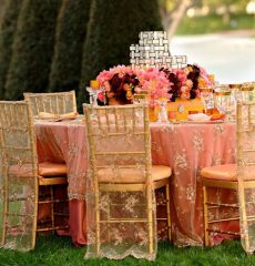 Rent gold lace overlay for round table