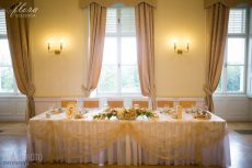Rent gold lace overlay for rectangular table