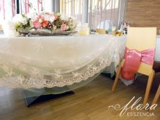 Rent white lace overlay for rectangular table