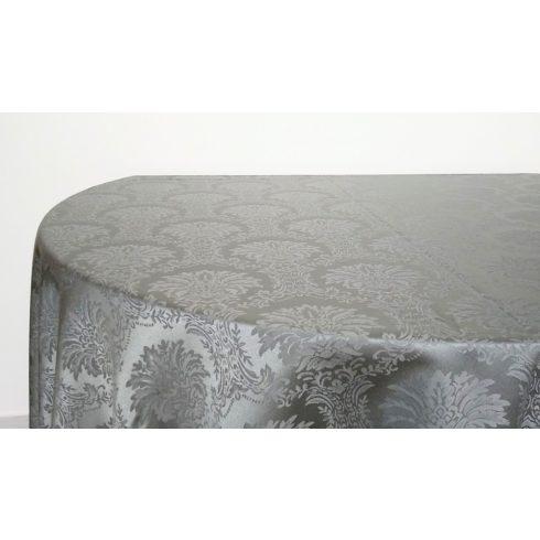 Ezüstszürke színű jacquard mintás damaszt körabrosz kölcsönzés luxus minőségben