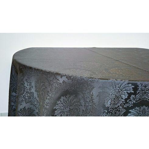 Fekete színű jacquard mintás damaszt körabrosz kölcsönzés luxus minőségben