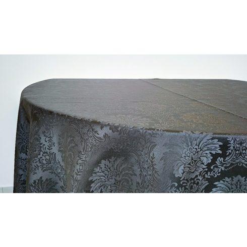 Fekete színű jacquard mintás damaszt körabrosz kölcsönzés luxus minőségben-ultimate damask collection