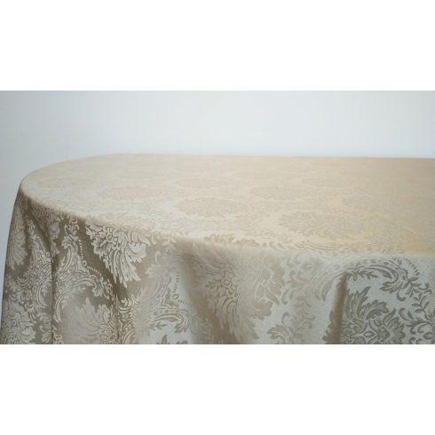 Krém színű jaquard mintás damaszt körabrosz kölcsönzés luxus minőségben