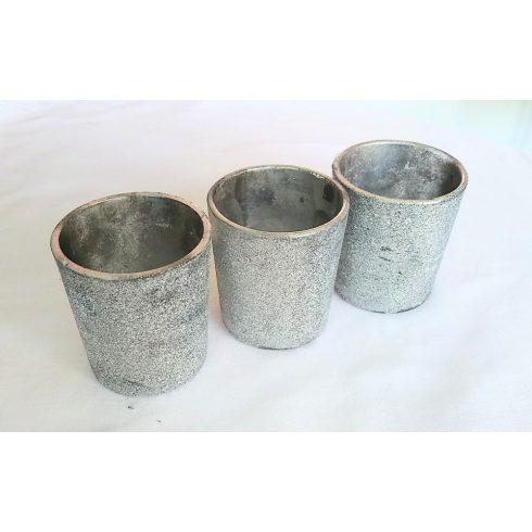 Ezüst színű csillámporos üveg mécsestartó kölcsönzés