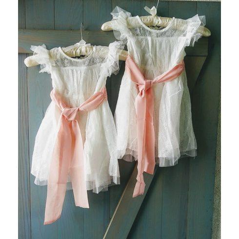 Fehér csipke alkalmi kislány ruha barack megkötővel