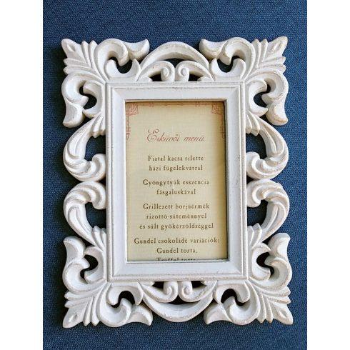 Romantikus képkeret kölcsönzés asztalszámozáshoz, menükártyához