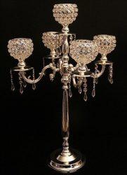 Extra magas 5 ágú kristályos asztali mécsestartó, gyertyatartó bérlése