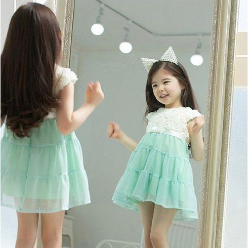 Alkalmi kislány ruha menta szoknyával