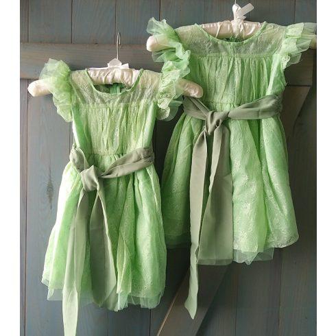 Mohazöld csipke alkalmi kislány ruha