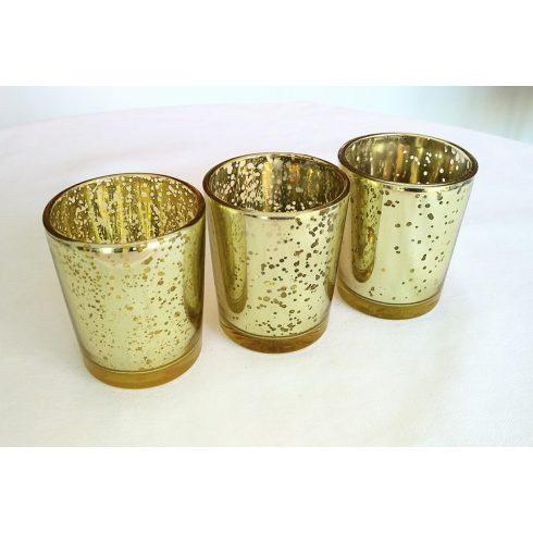 Arany pezsgő színű mercury üveg mécsestartó kölcsönzés