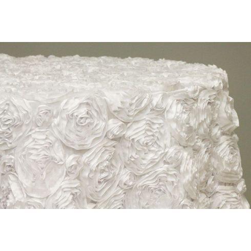 Fehér színű aplikált 3d rozettás körabrosz bérlése