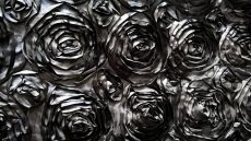 Rent black color rosette taffeta round tablecloth