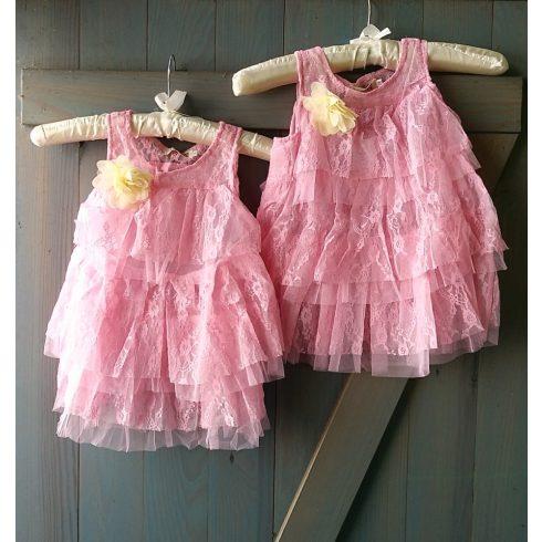 Rózsaszín csipke alkalmi kislány ruha