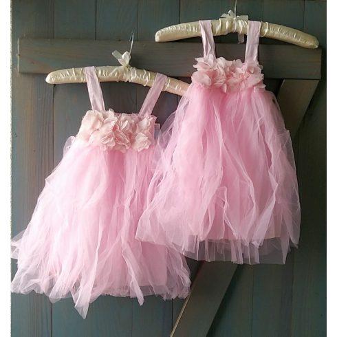 Rózsaszín tüll alkalmi kislány ruha