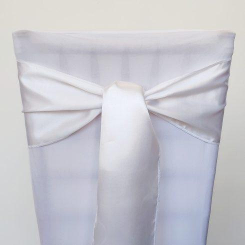 Fehér színű szatén székmasni kölcsönzés