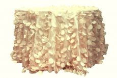 Rent peach color petal taffeta round tablecloth
