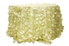 Rent ivory color petal taffeta round tablecloth